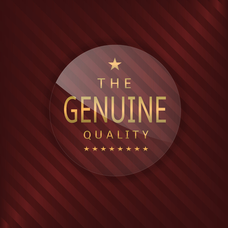 glass badge: Genuine quality glass label. Glass badge with golden text