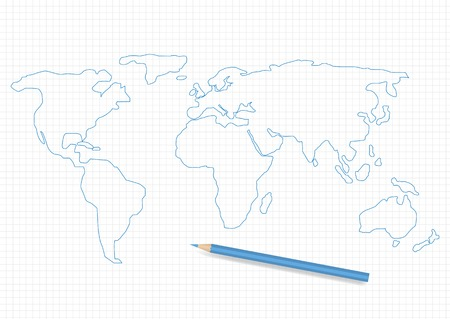south asia: Hand drawn world map and blue pencil Illustration