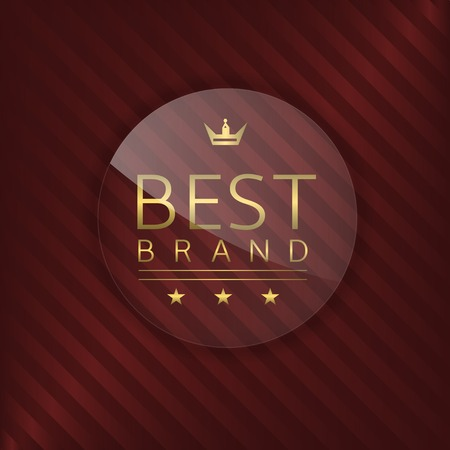brand label: Best brand label. Glass badge with golden text