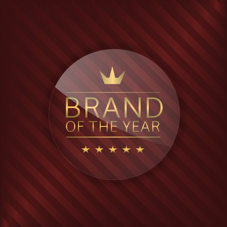 glass badge: Brand of the year label. Glass badge with golden text