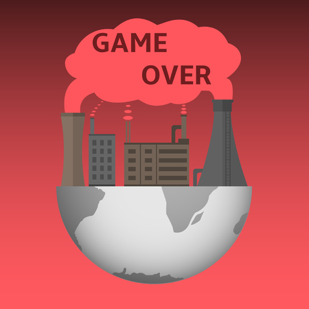 environmental disaster: Game over illustration. Environmental pollution. Disaster. Destruction. Global disaster. Global warming Illustration