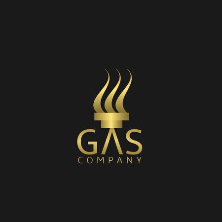 corporation: Gas company . Golden emblem. Gas corporation sign