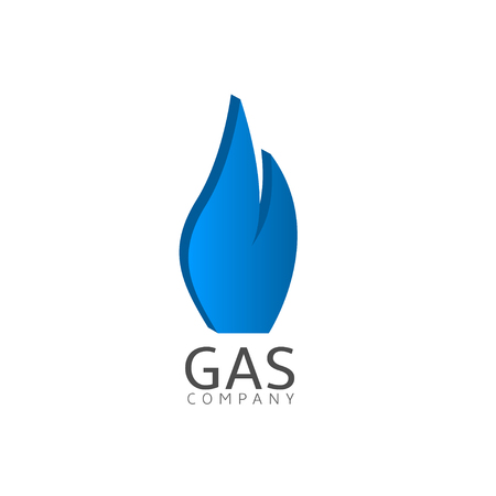 blue fire: Gas company  Blue fire emblem. Gas corporation sign