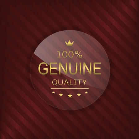 glass badge: Genuine quality label. Glass badge with golden text
