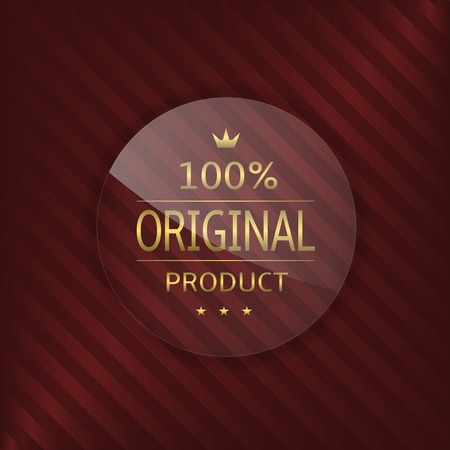 glass badge: Original product label. Glass badge with golden text Illustration
