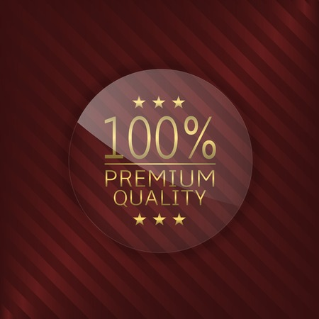 glass badge: Premium quality product label. Glass badge with golden text