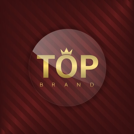 brand label: Top brand label. Glass badge with golden text Illustration