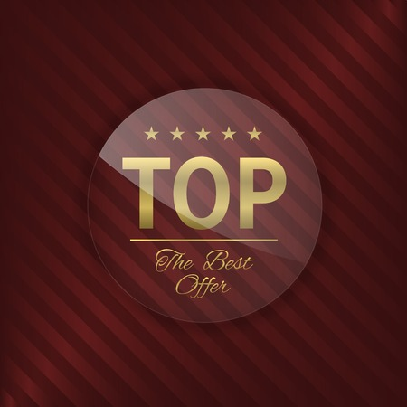 brand label: Top brand label. Best offer, Glass badge with golden text