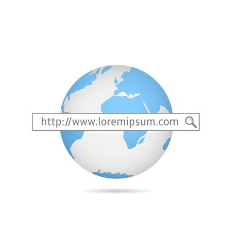 provider: Web search. Blue world map.  Internet service provider.  Internet site. Global computer network