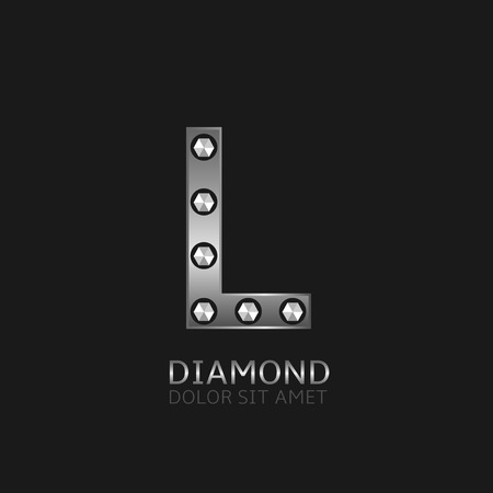 Silver L letter with diamonds. Luxury symbol, Vector illustration
