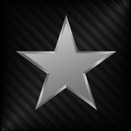 star award: Silver Star symbol. Silver award sign, medal of honor