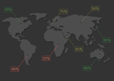 systematic: World map infographics. Systematic computational analysis of data or statistics Illustration