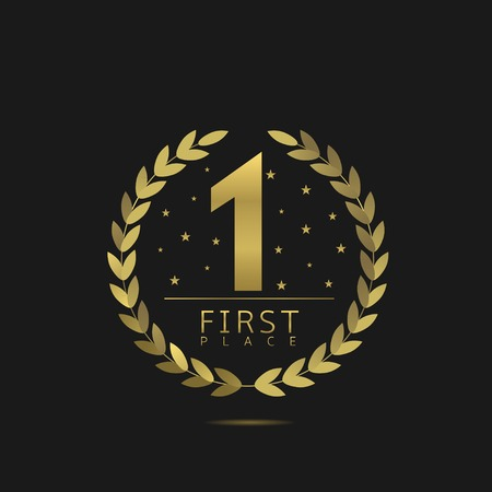 First place icon, golden number one symbol. Vector illustration