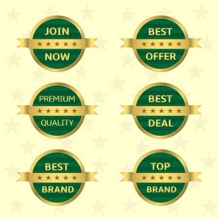 approval rate: Green label with golden ribbon set. Best brand Top brand Best deal Premium quality Best offer Join now