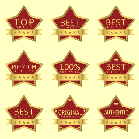 red star: Red Star labels with golden frames and ribbons. Authentic product, Original product, Best quality, Best offer, Guaranteed