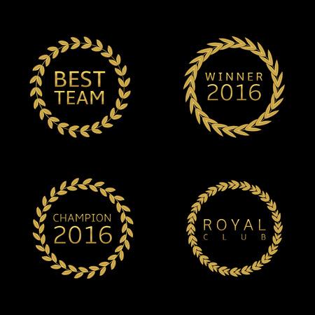 approval rate: Golden label set. Award symbols, Best team Winner 2016 champion 2016 Royal club