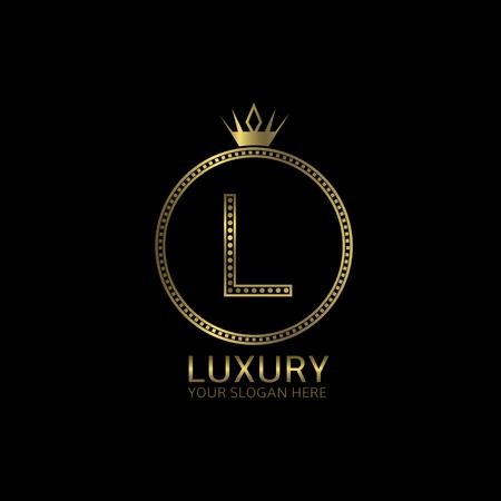 Luxury golden label. Letter R, luxury symbol Illustration