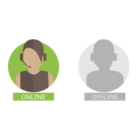 Support operator avatars. Online and offline icons