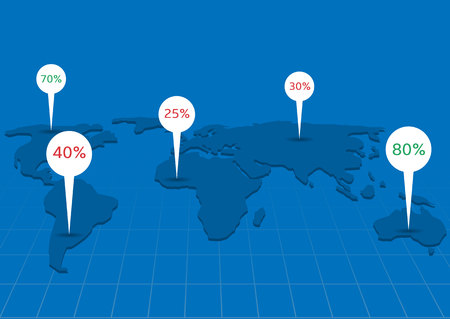 computational: World map infographics. Systematic computational analysis of data or statistics, Blue world map with white pointers Illustration