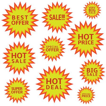 Promotion label set Advertising icons Marketing badge Hot price Hot sale Super offer