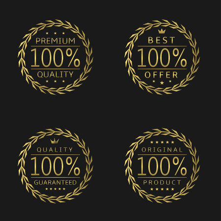 approval rate: Golden laurel wreath badge set Premium quality Best offer Quality guaranteed Original product