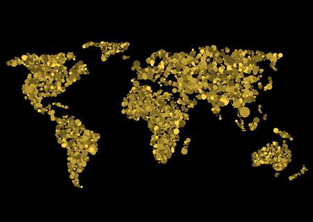 Golden world map. Abstract earth, Vector illustration Illustration