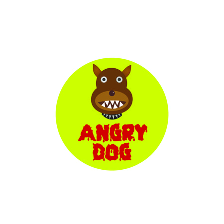 Danger Angry dog plate over white