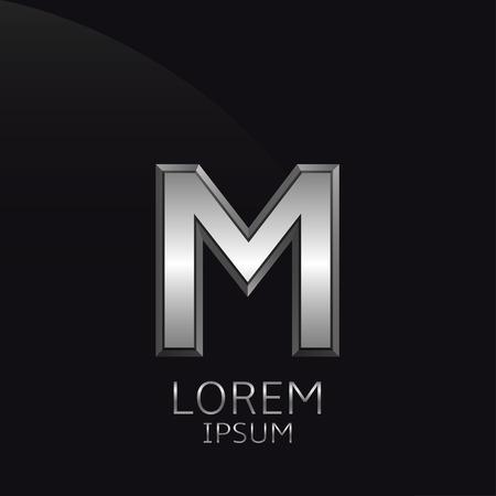 Silver M Letter embleem. Zakelijke logo template