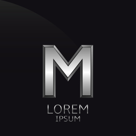 Silver M Letter emblem. Business logo template