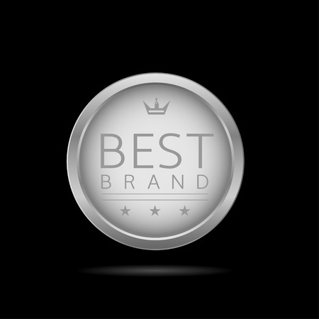 top class: Best brand label. Silver metal badge, business theme