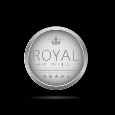 top class: Royal label. Silver metal badge, business theme