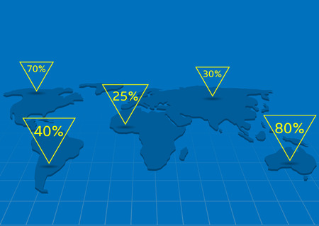 computational: World map infographics. Systematic computational analysis of data or statistics, Blue world map with yellow pointers
