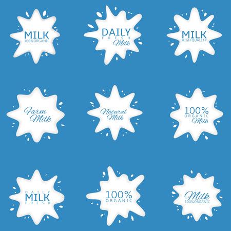 Milk Logo set. Fresh daily milk labels, white icons on blue background Ilustração
