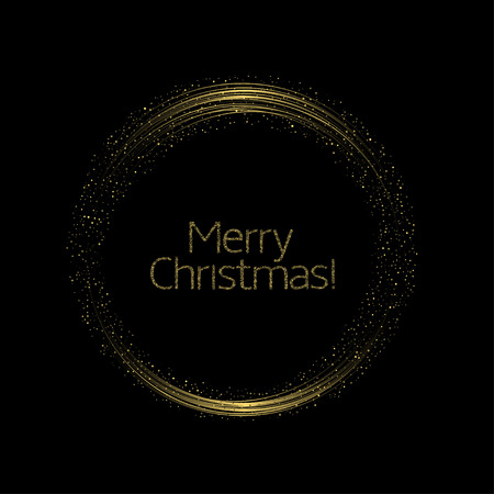 Merry Christmas. Abstract golden glowing magic sparkles stars