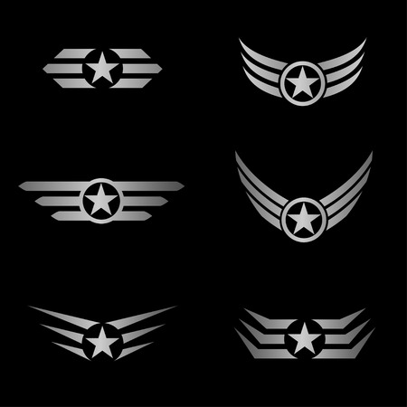 star power: Silver Wings and star emblem. Fly aircraft symbol, power luxury sign