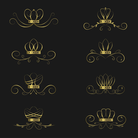 luxuries: Golden crown set. Royal luxury symbols, Vector illustration