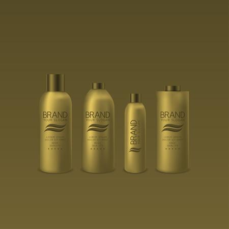 Golden shampoo and foam bottles