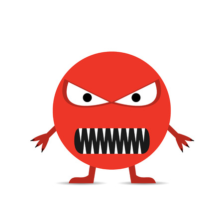 Red angry smiley face. Illustration