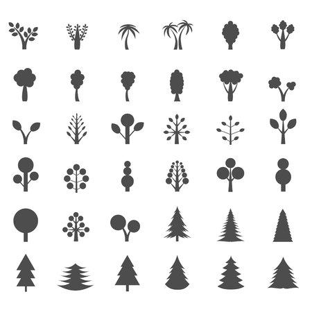 aspen leaf: Tree silhouette set