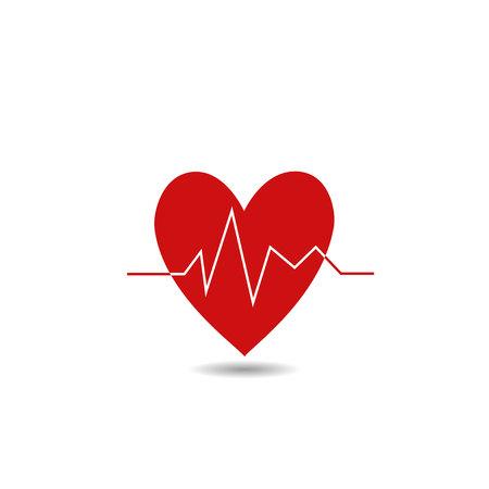 electrocardiograma: Ilustración del corazón rojo. Vectores