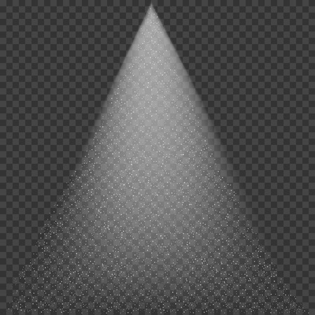 Water spray effect over transparent background, searchlight effect with dust cloud