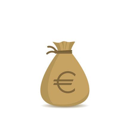 유로 기호 돈 가방입니다. 보물, 대성공 상징