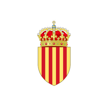 Coat of Arms of Catalonia on white background. Ilustração