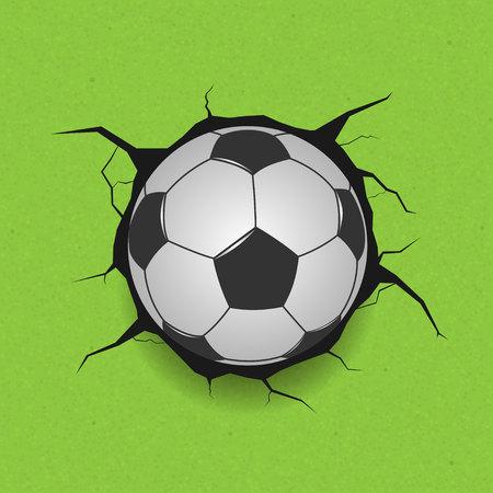 Soccer ball on cracked background Illustration