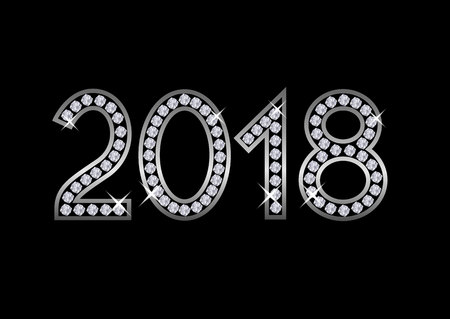 2018 Luxury numbers. Happy New Year and Merry Christmas Illustration