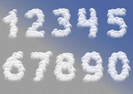 White cloudy numbers