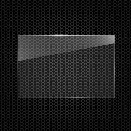 Transparent glass frame in black background