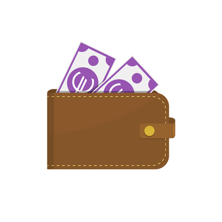 Leather wallet with euro banknotes. Vector illustration