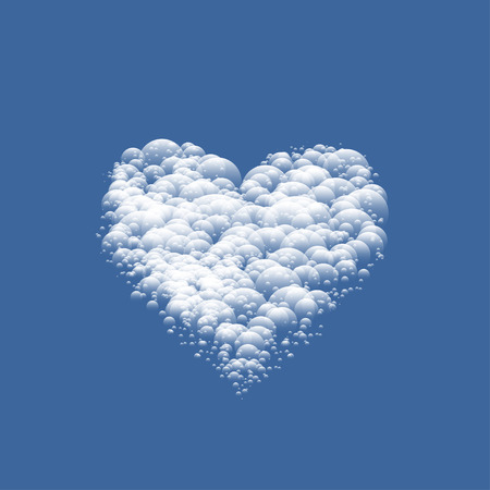 White cloudy Valentine Heart Stock Photo