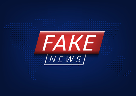 Fake news label over world map. Vector illustration
